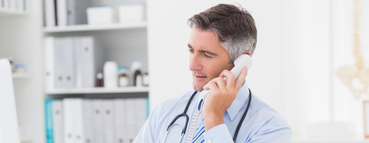 Doctor Purchasing Order Via Phone in Clinic